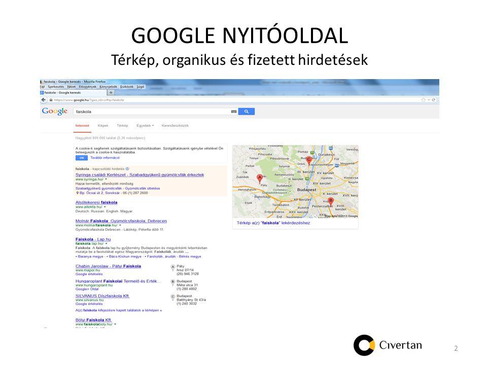 GOOGLE NYITÓOLDAL Térkép, organikus és fizetett hirdetések 2