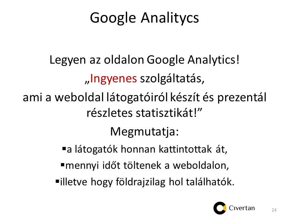 Google Analitycs Legyen az oldalon Google Analytics.