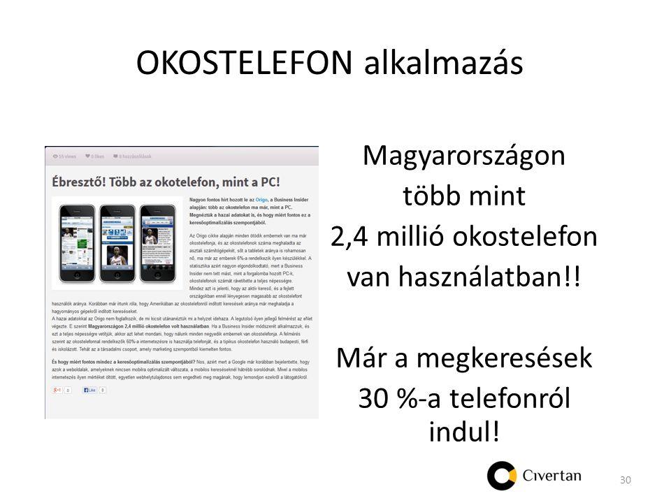 OKOSTELEFON alkalmazás Magyarországon több mint 2,4 millió okostelefon van használatban!.