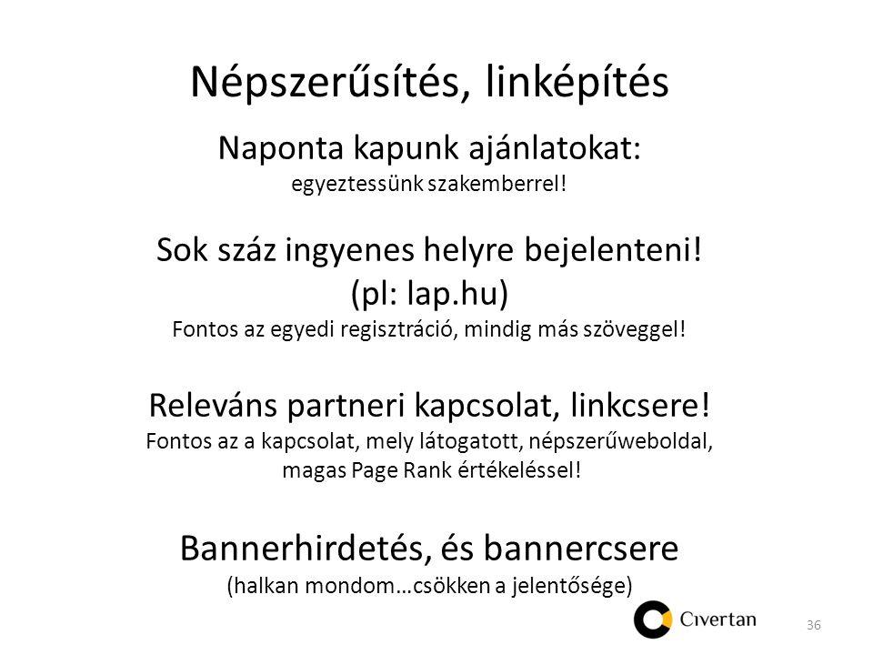 Népszerűsítés, linképítés Naponta kapunk ajánlatokat: egyeztessünk szakemberrel.