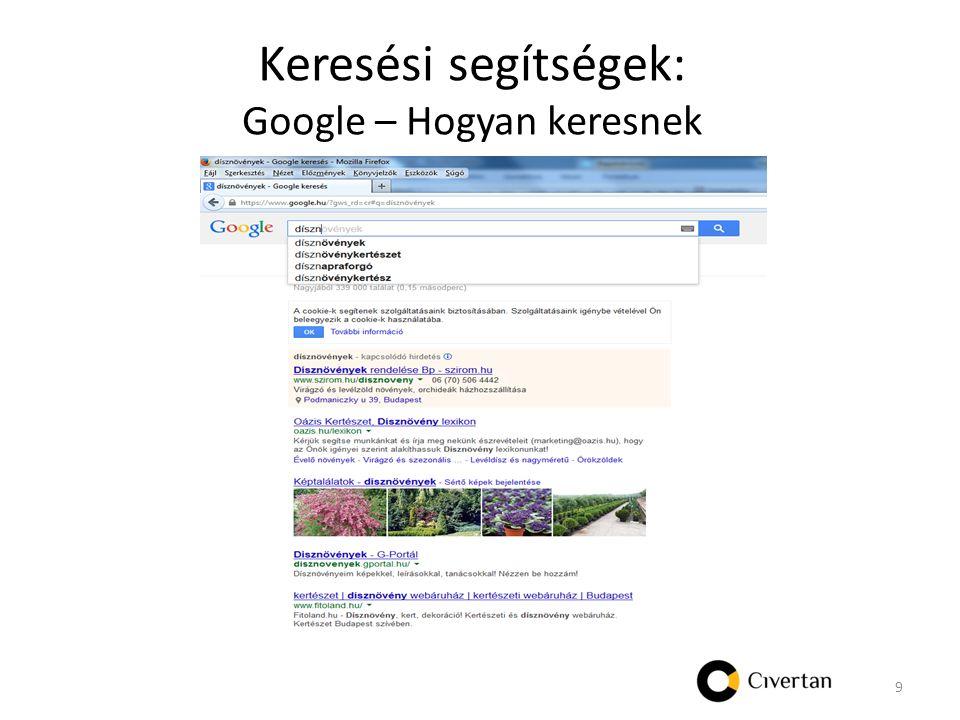 Keresési segítségek: Google – Hogyan keresnek 9