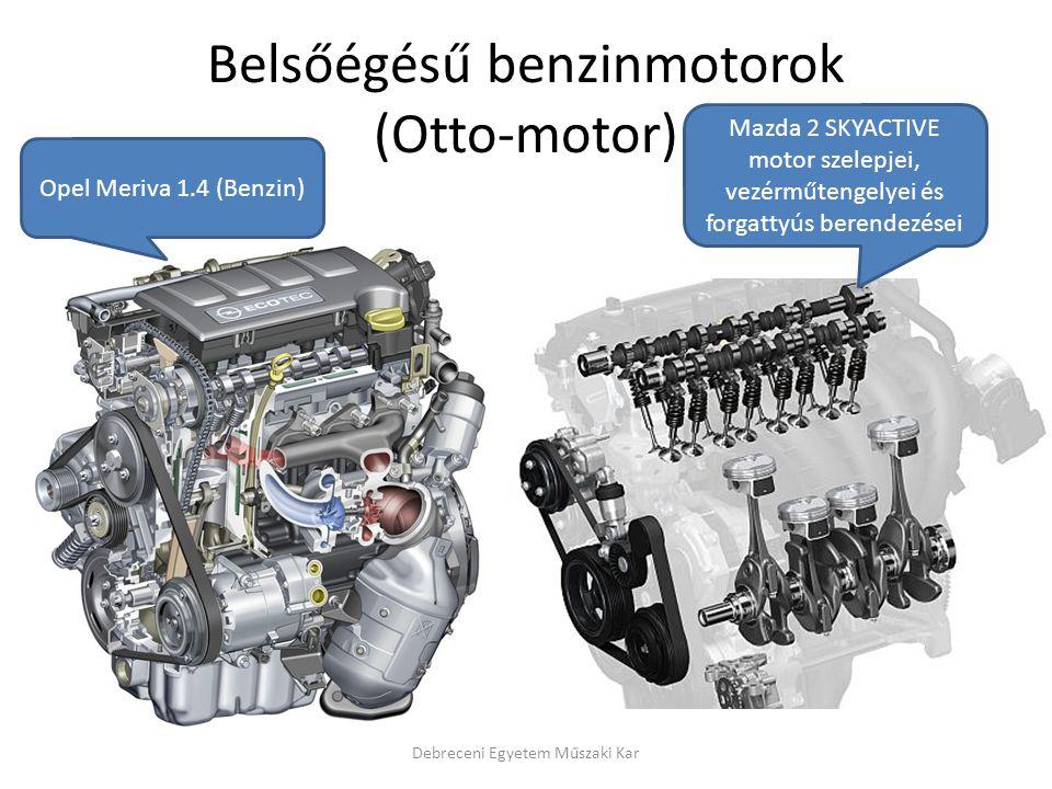 Belsőégésű benzinmotorok (Otto-motor) Debreceni Egyetem Műszaki Kar Opel Meriva 1.4 (Benzin) Mazda 2 SKYACTIVE motor szelepjei, vezérműtengelyei és forgattyús berendezései