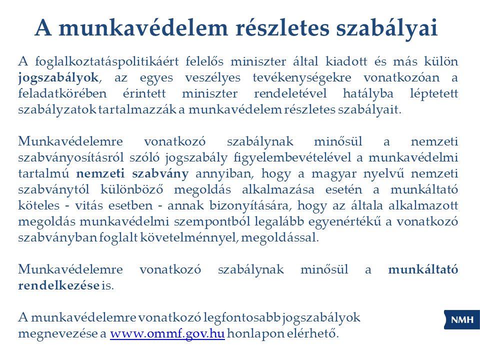 A munkavédelem részletes szabályai A foglalkoztatáspolitikáért felelős miniszter által kiadott és más külön jogszabályok, az egyes veszélyes tevékenys