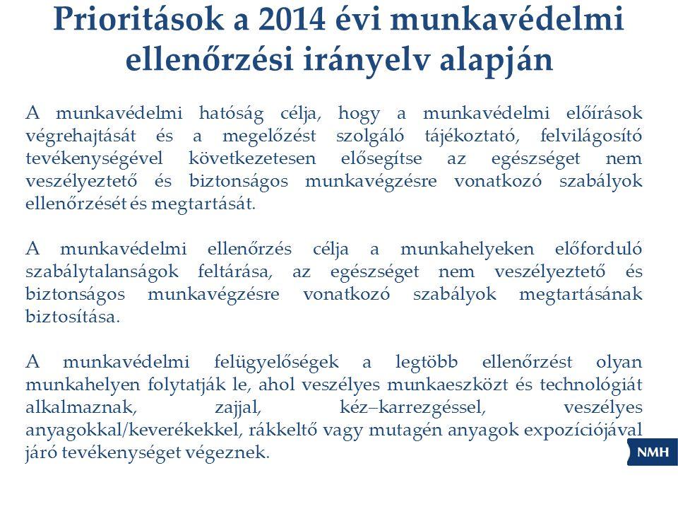 Prioritások a 2014 évi munkavédelmi ellenőrzési irányelv alapján A munkavédelmi hatóság célja, hogy a munkavédelmi előírások végrehajtását és a megelő