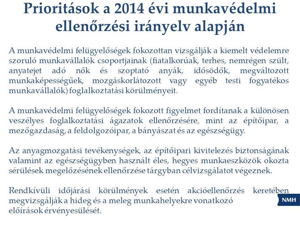 Prioritások a 2014 évi munkavédelmi ellenőrzési irányelv alapján A munkavédelmi felügyelőségek fokozottan vizsgálják a kiemelt védelemre szoruló munka