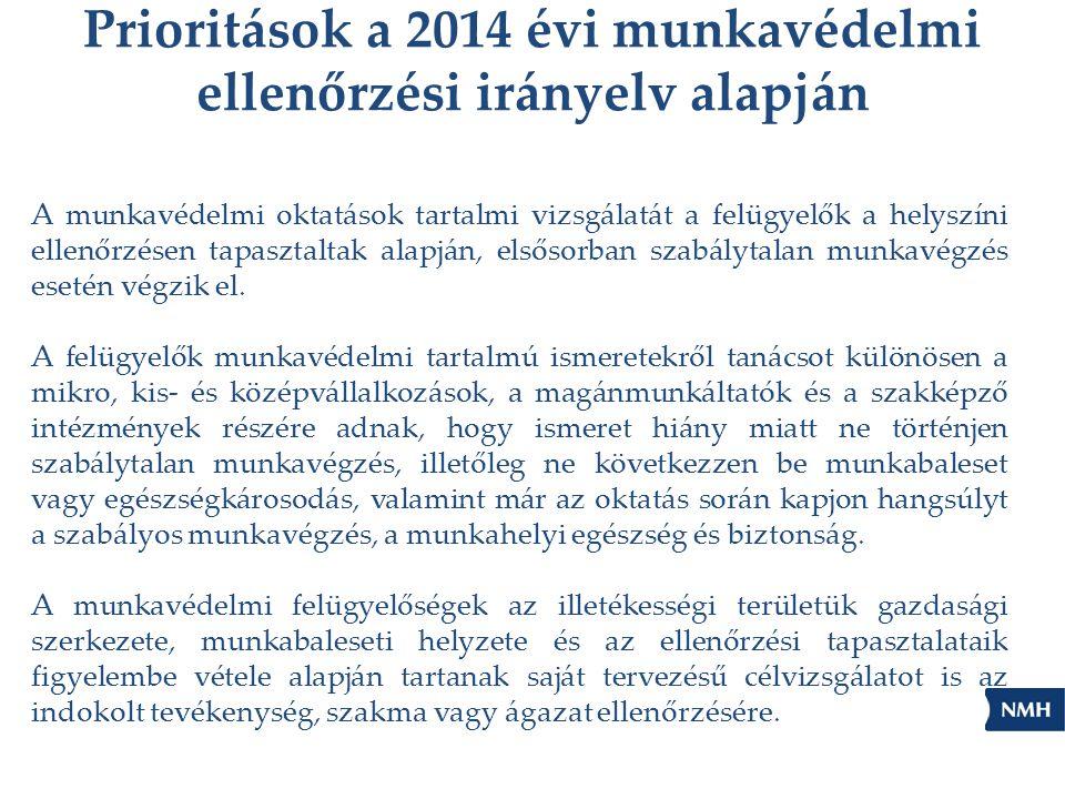 Prioritások a 2014 évi munkavédelmi ellenőrzési irányelv alapján A munkavédelmi oktatások tartalmi vizsgálatát a felügyelők a helyszíni ellenőrzésen t