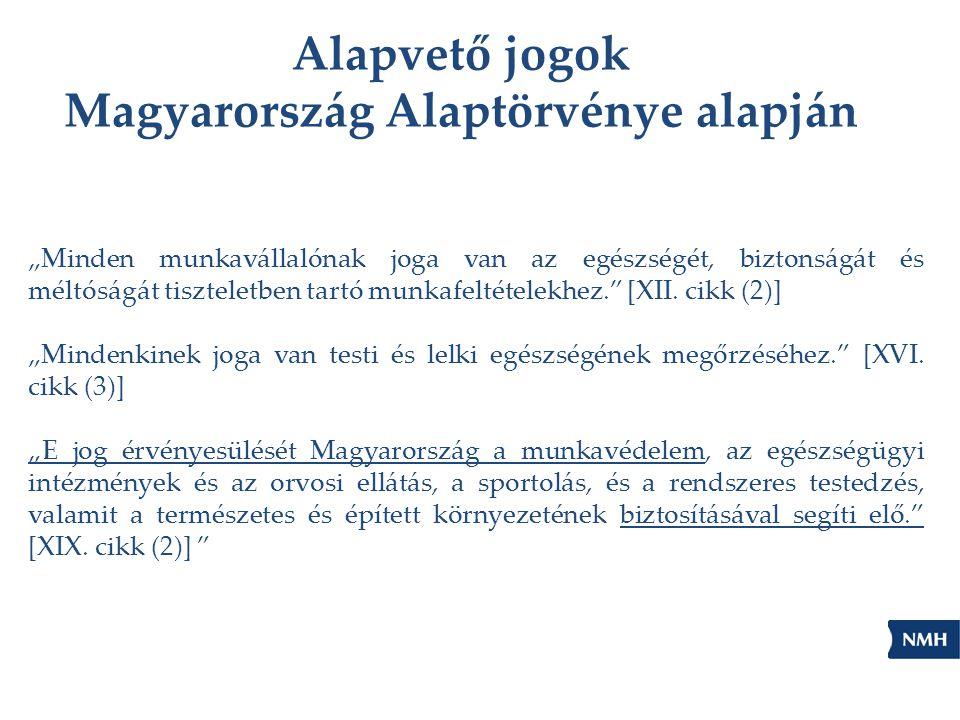 """Alapvető jogok Magyarország Alaptörvénye alapján """"Minden munkavállalónak joga van az egészségét, biztonságát és méltóságát tiszteletben tartó munkafel"""