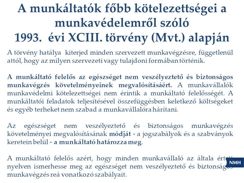 A munkáltatók főbb kötelezettségei a munkavédelemről szóló 1993. évi XCIII. törvény (Mvt.) alapján A törvény hatálya kiterjed minden szervezett munkav
