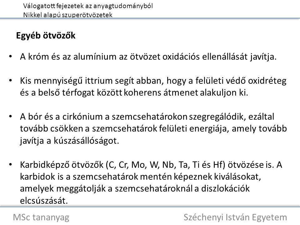 Válogatott fejezetek az anyagtudományból Nikkel alapú szuperötvözetek MSc tananyag Széchenyi István Egyetem A króm és az alumínium az ötvözet oxidációs ellenállását javítja.