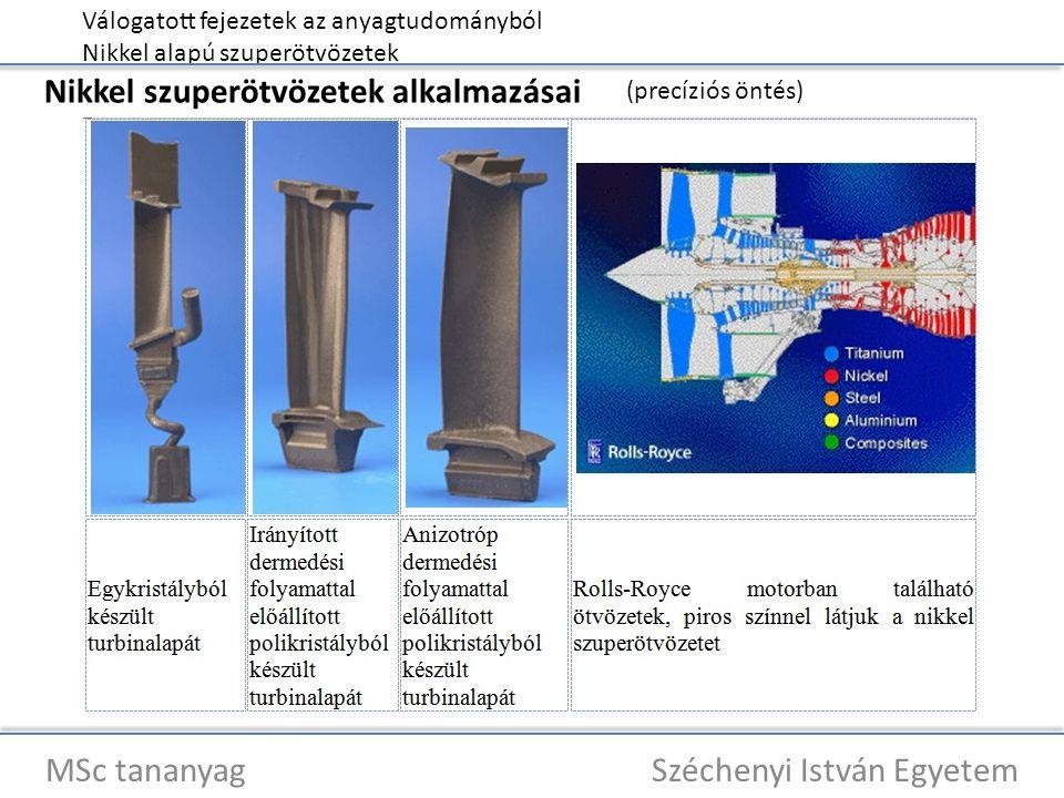 Válogatott fejezetek az anyagtudományból Nikkel alapú szuperötvözetek MSc tananyag Széchenyi István Egyetem Nikkel szuperötvözetek alkalmazásai (precíziós öntés)