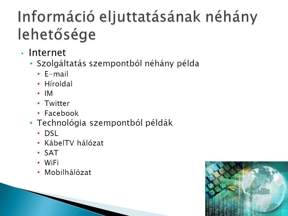 Internet Szolgáltatás szempontból néhány példa E-mail Híroldal IM Twitter Facebook Technológia szempontból példák DSL KábelTV hálózat SAT WiFi Mobilhá