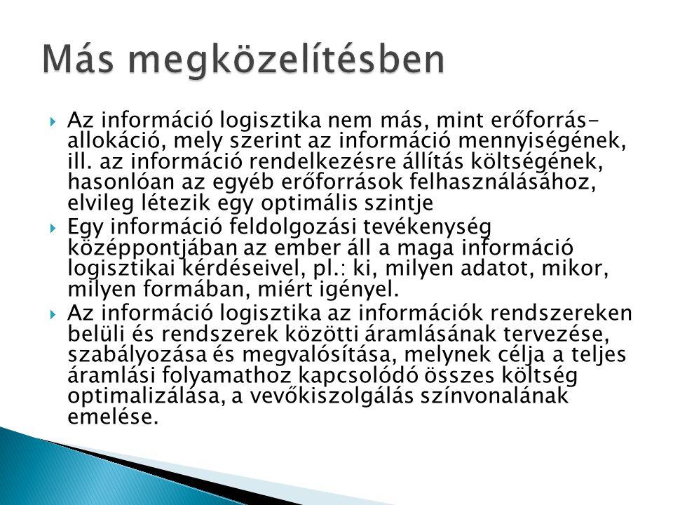  Az információ logisztika nem más, mint erőforrás- allokáció, mely szerint az információ mennyiségének, ill. az információ rendelkezésre állítás költ