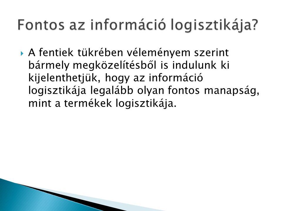  A fentiek tükrében véleményem szerint bármely megközelítésből is indulunk ki kijelenthetjük, hogy az információ logisztikája legalább olyan fontos m