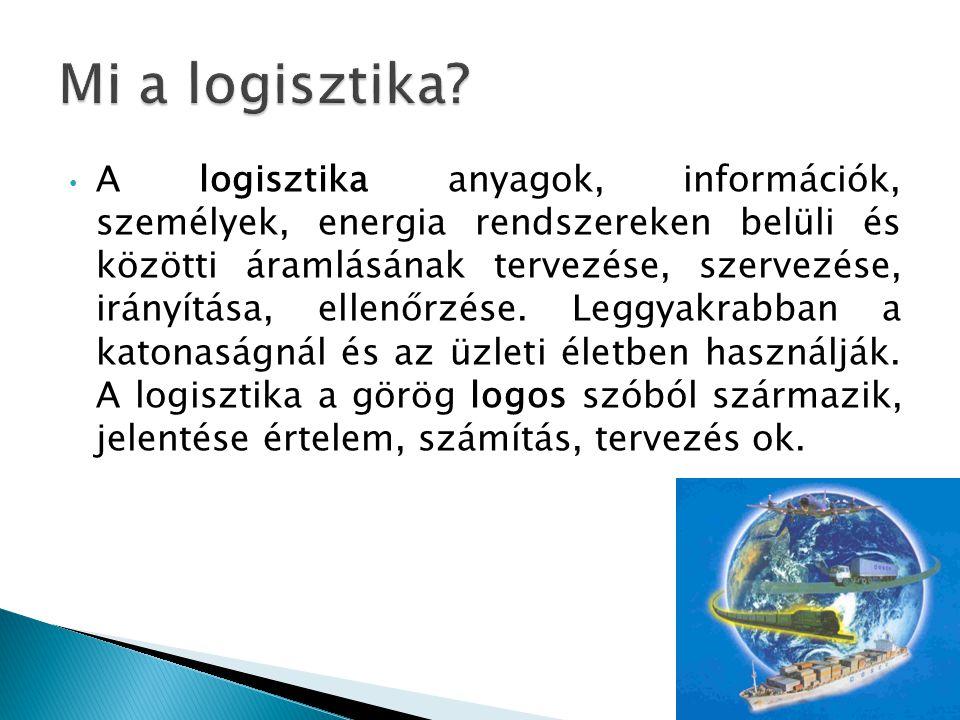 A logisztika anyagok, információk, személyek, energia rendszereken belüli és közötti áramlásának tervezése, szervezése, irányítása, ellenőrzése. Leggy