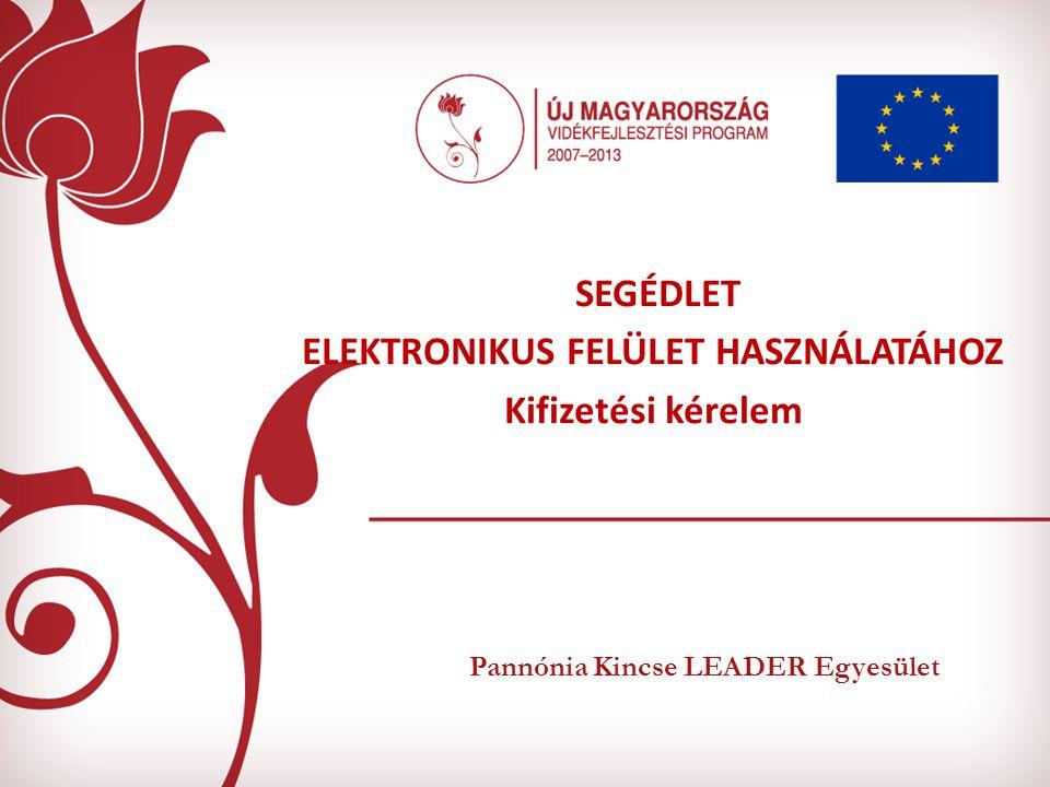 Pannónia Kincse LEADER Egyesület SEGÉDLET ELEKTRONIKUS FELÜLET HASZNÁLATÁHOZ Kifizetési kérelem