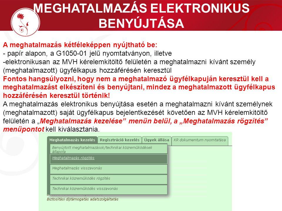 MEGHATALMAZÁS ELEKTRONIKUS BENYÚJTÁSA A meghatalmazás kétféleképpen nyújtható be: - papír alapon, a G1050-01 jelű nyomtatványon, illetve -elektronikus