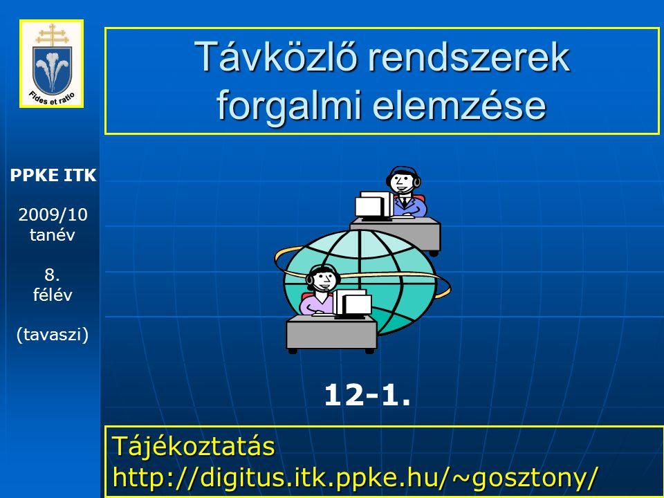 PPKE ITK 2009/10 tanév 8. félév (tavaszi) Távközlő rendszerek forgalmi elemzése Tájékoztatás http://digitus.itk.ppke.hu/~gosztony/ 12-1.