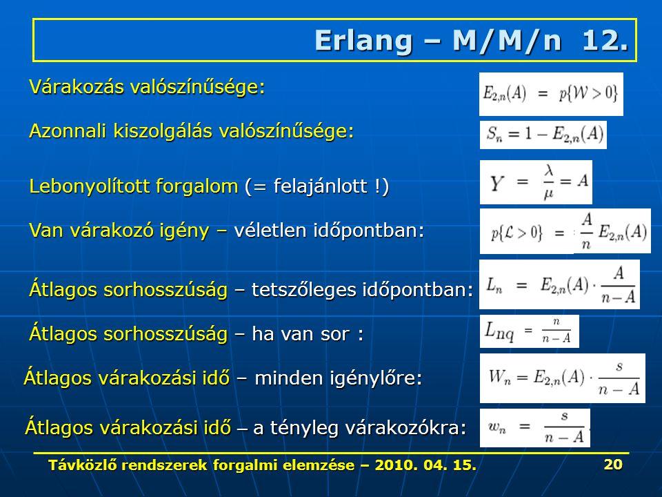 Távközlő rendszerek forgalmi elemzése – 2010. 04. 15. 20 Erlang – M/M/n 12. Átlagos várakozási idő – a tényleg várakozókra: Átlagos várakozási idő – m