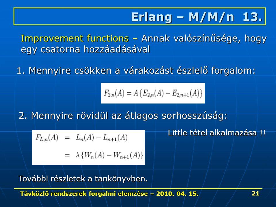Távközlő rendszerek forgalmi elemzése – 2010. 04. 15. 21 Erlang – M/M/n 13. Improvement functions – Annak valószínűsége, hogy egy csatorna hozzáadásáv