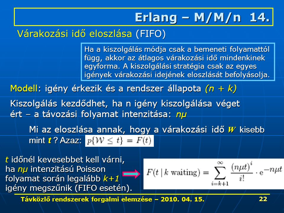 Távközlő rendszerek forgalmi elemzése – 2010. 04. 15. 22 Mi az eloszlása annak, hogy a várakozási idő W kisebb mint t ? Azaz: Erlang – M/M/n 14. Ha a