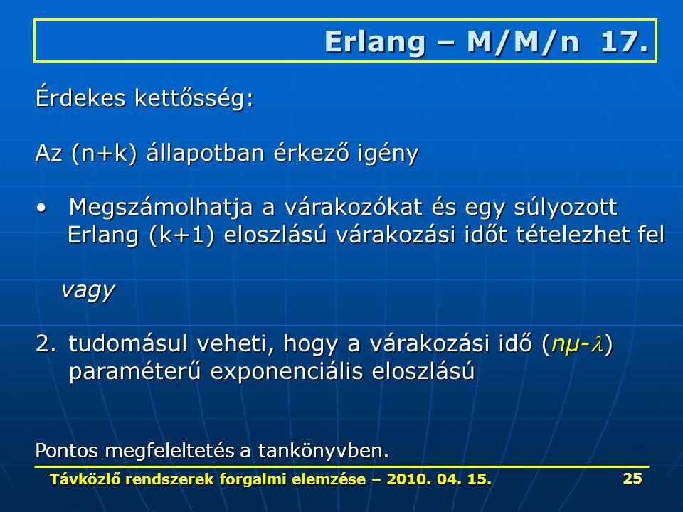 Távközlő rendszerek forgalmi elemzése – 2010. 04. 15. 25 Erlang – M/M/n 17. Érdekes kettősség: Az (n+k) állapotban érkező igény Megszámolhatja a várak