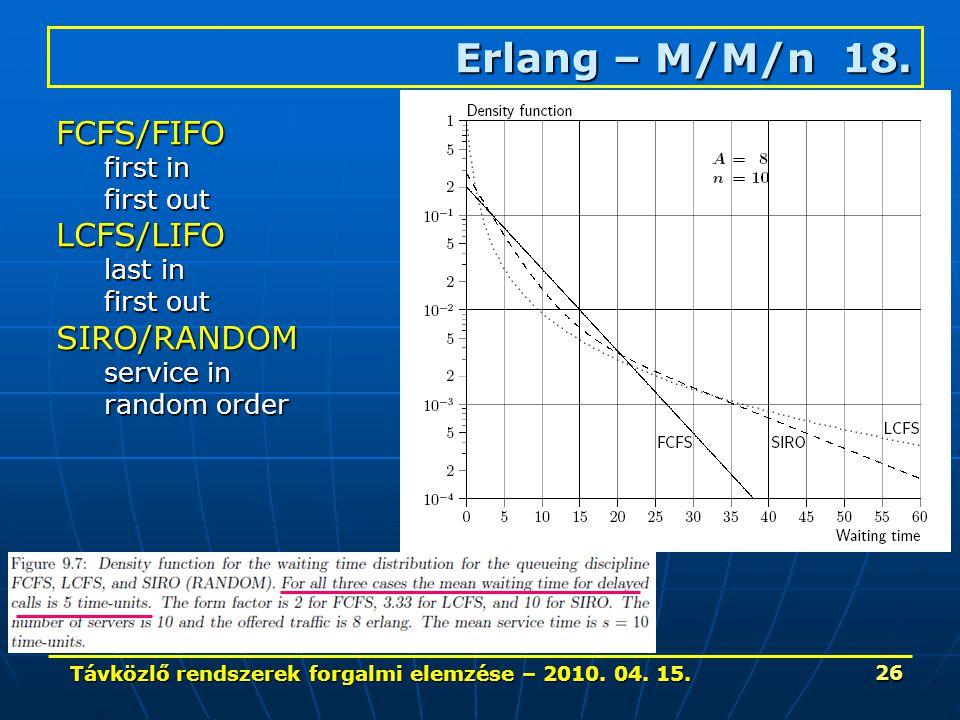 Távközlő rendszerek forgalmi elemzése – 2010. 04. 15. 26 Erlang – M/M/n 18. FCFS/FIFO first in first out LCFS/LIFO last in first out SIRO/RANDOM servi