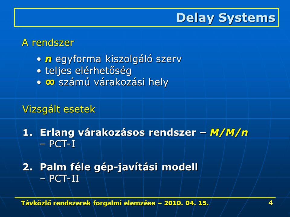 Távközlő rendszerek forgalmi elemzése – 2010. 04. 15. 4 Delay Systems A rendszer n egyforma kiszolgáló szerv n egyforma kiszolgáló szerv teljes elérhe