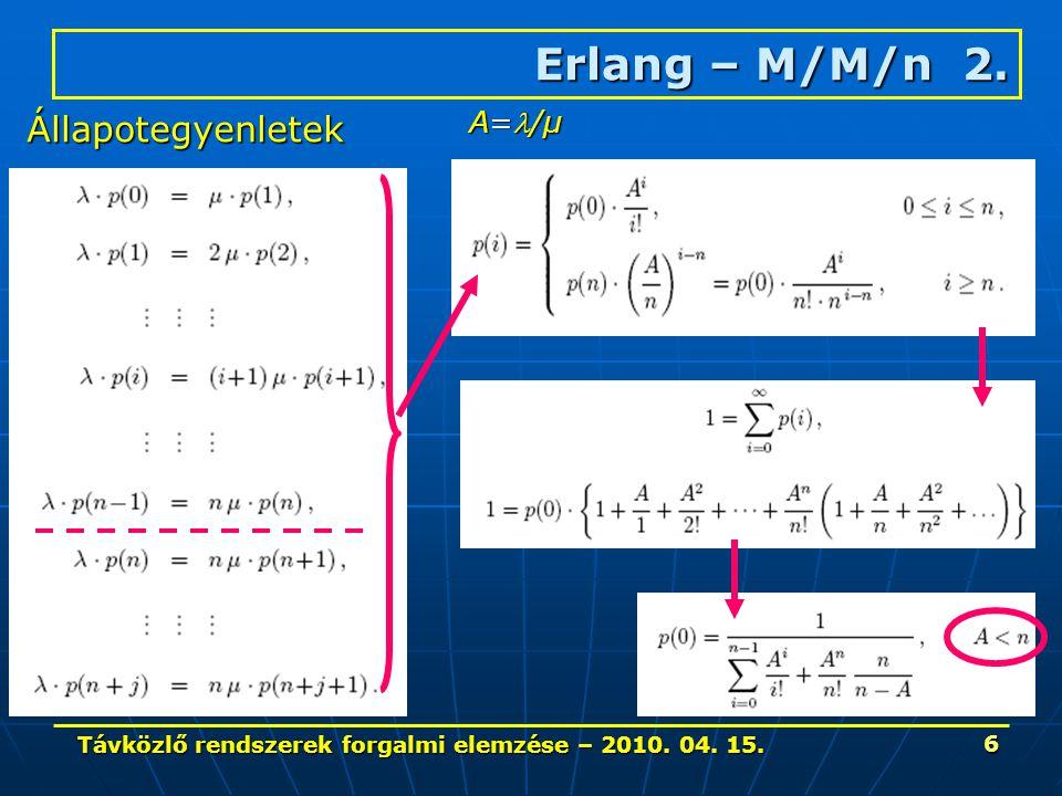 Távközlő rendszerek forgalmi elemzése – 2010. 04. 15. 6 Erlang – M/M/n 2. Állapotegyenletek A=/μ