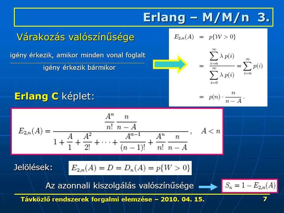 Távközlő rendszerek forgalmi elemzése – 2010. 04. 15. 7 Erlang – M/M/n 3. Várakozás valószínűsége igény érkezik, amikor minden vonal foglalt _________