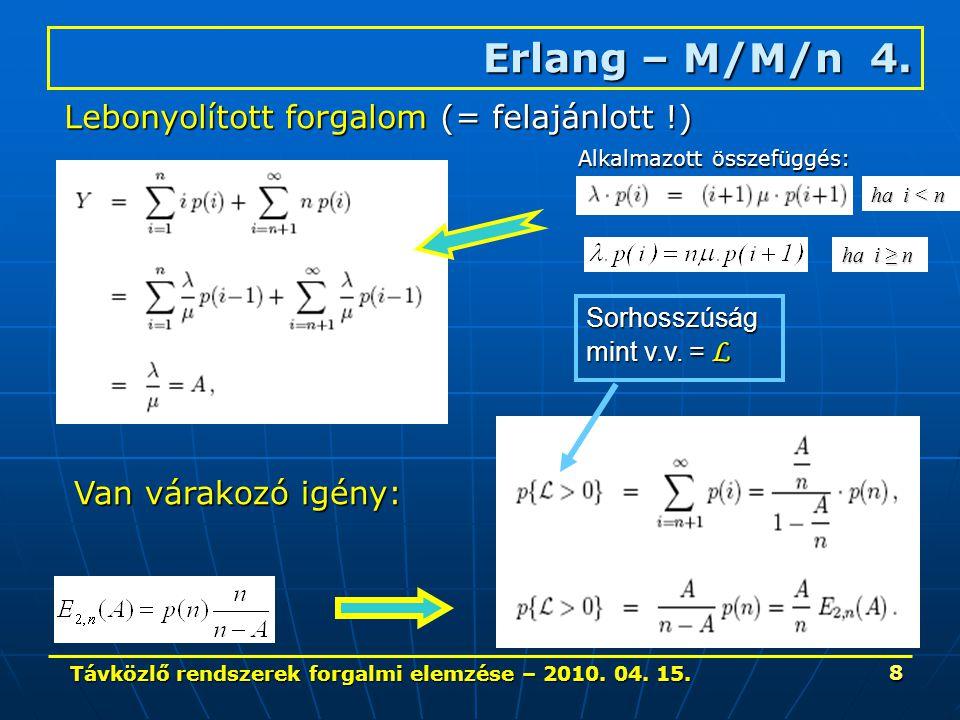 Távközlő rendszerek forgalmi elemzése – 2010. 04. 15. 8 Erlang – M/M/n 4. Lebonyolított forgalom (= felajánlott !) Van várakozó igény: Sorhosszúság mi