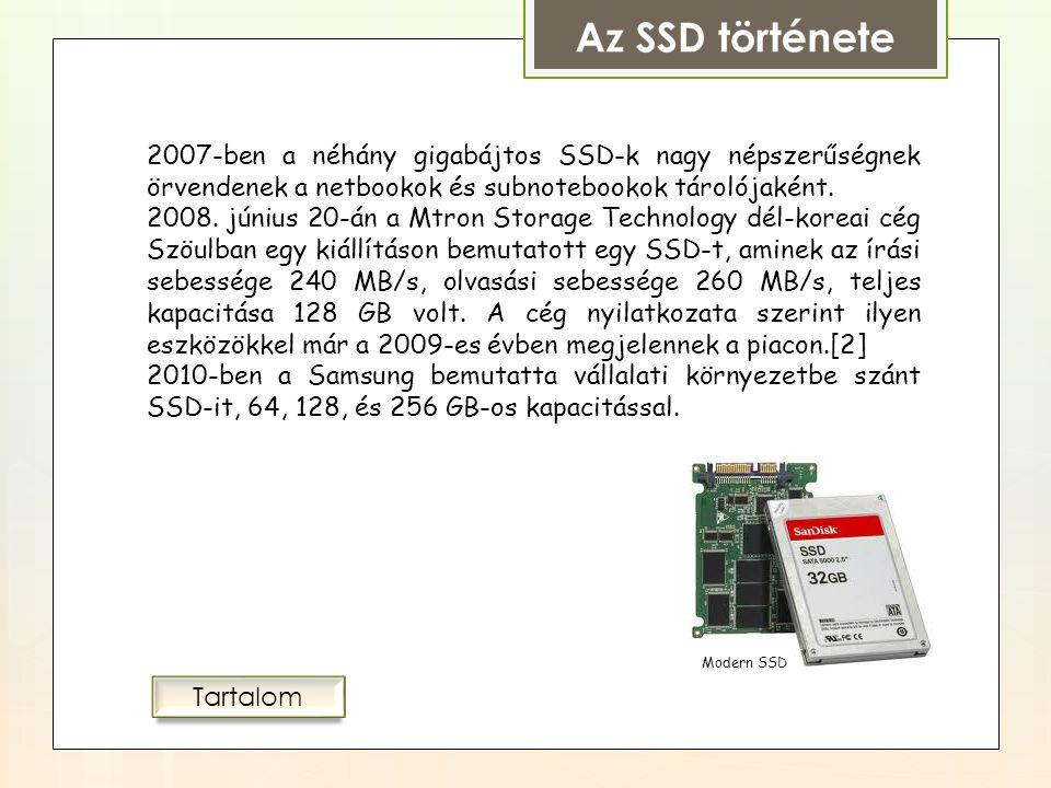 """Az SSD története Az 1980-as években a RAM """"disk népszerű indítóeszköz (boot media) — a merevlemez drága volt, a floppy lassú, és egyes rendszerek, mint például az Amiga sorozat, az Apple IIgs és később a Macintosh Portable támogatta a RAM-diskről való indítást."""