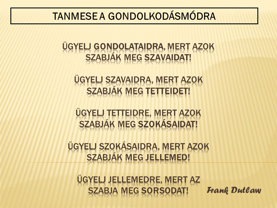 Frank Dutlaw TANMESE A GONDOLKODÁSMÓDRA