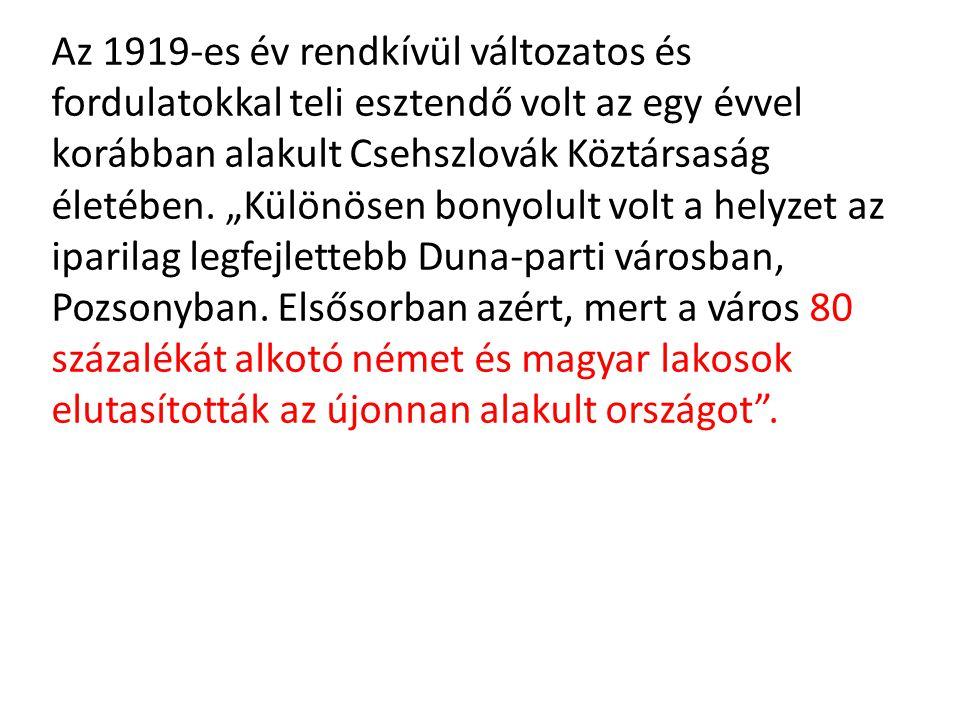 """Az 1919-es év rendkívül változatos és fordulatokkal teli esztendő volt az egy évvel korábban alakult Csehszlovák Köztársaság életében. """"Különösen bony"""