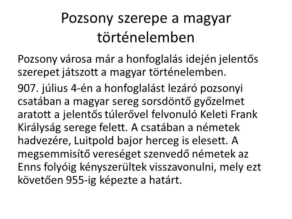 Pozsony szerepe a magyar történelemben Pozsony városa már a honfoglalás idején jelentős szerepet játszott a magyar történelemben. 907. július 4-én a h