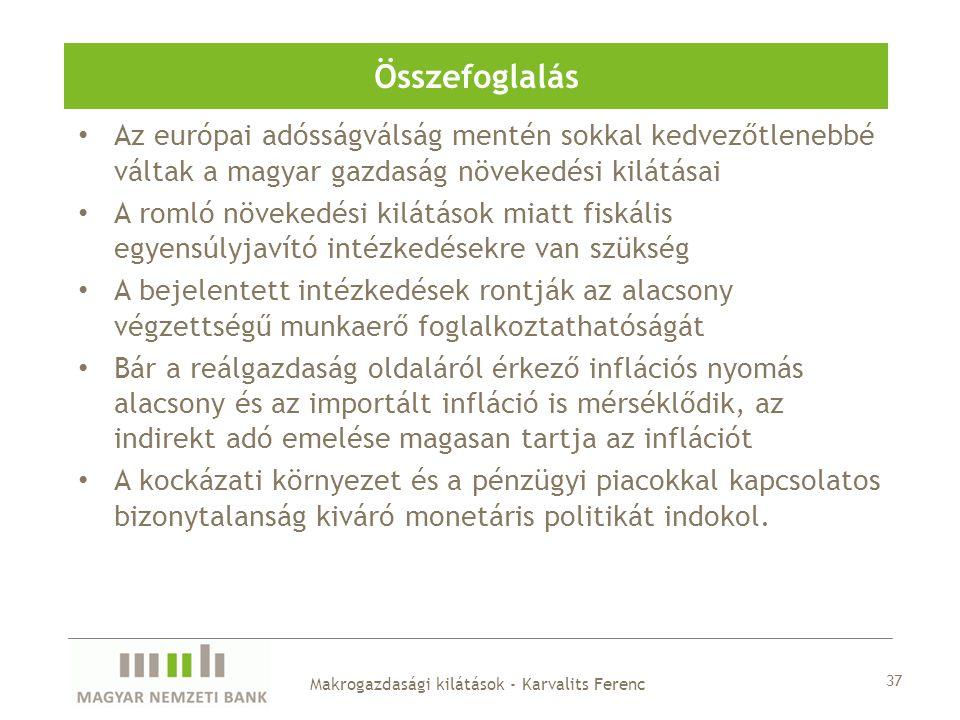 Az európai adósságválság mentén sokkal kedvezőtlenebbé váltak a magyar gazdaság növekedési kilátásai A romló növekedési kilátások miatt fiskális egyen