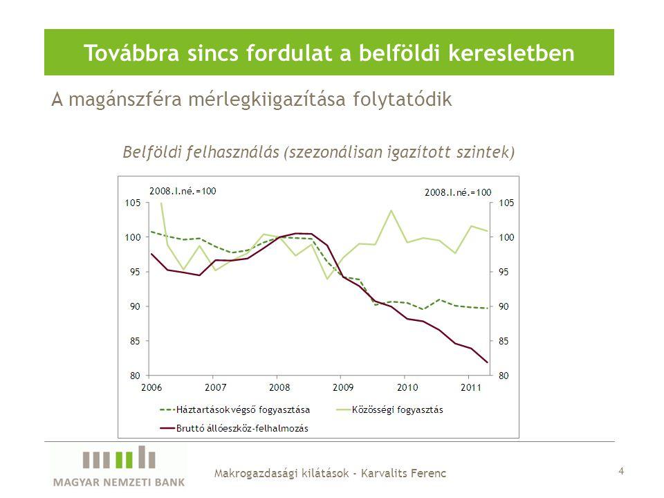 A magánszféra mérlegkiigazítása folytatódik Továbbra sincs fordulat a belföldi keresletben Belföldi felhasználás (szezonálisan igazított szintek) Makr