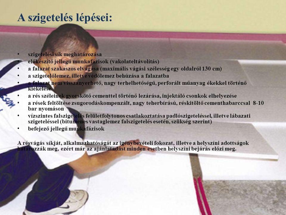 A szigetelés lépései: s zigetelési sík meghatározása e lőkészítő jellegű munkafázisok (vakolateltávolítás) a falazat szakaszos elvágása (maximális vág
