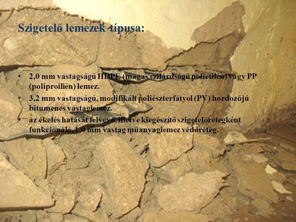 Szigetelő lemezek típusa: 2,0 mm vastagságú HDPE (magas szilárdságú polietilén) vagy PP (poliproilién) lemez. 3,2 mm vastagságú, modifikált poliészter