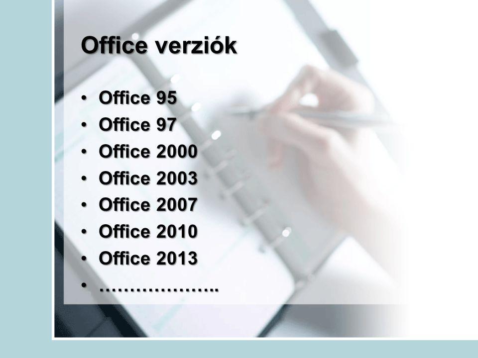 Office verziók Office 95Office 95 Office 97Office 97 Office 2000Office 2000 Office 2003Office 2003 Office 2007Office 2007 Office 2010Office 2010 Offic