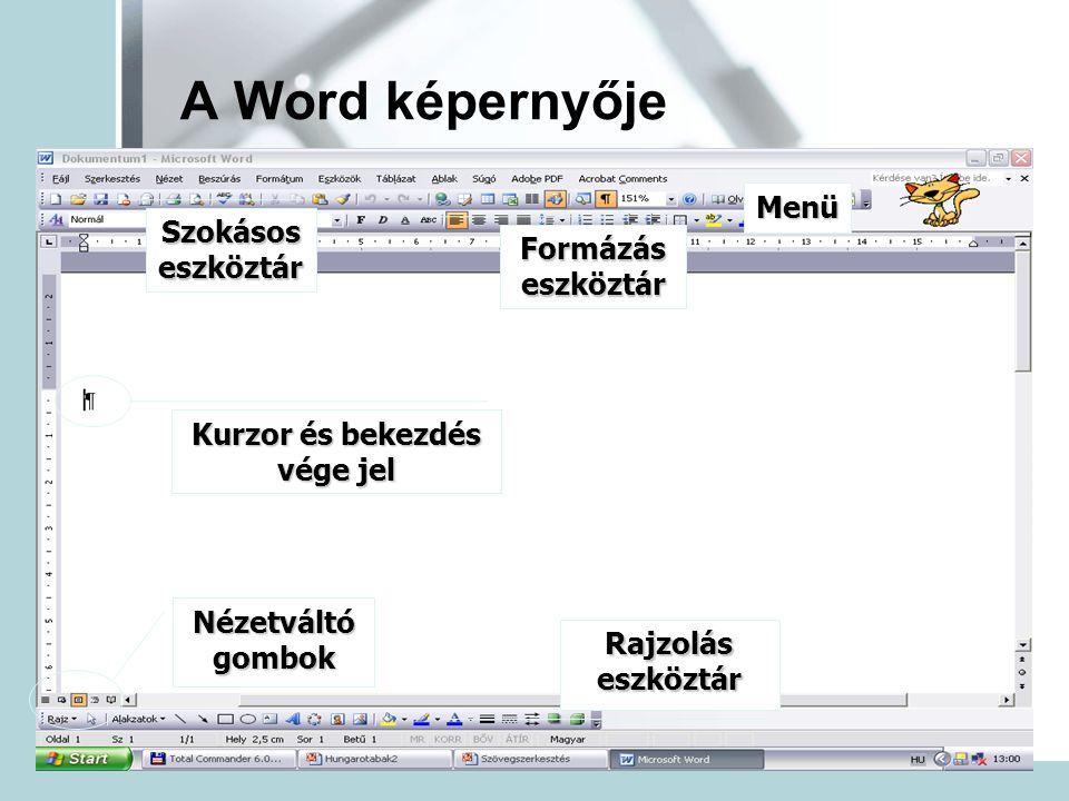 A Word képernyője Menü Szokásos eszköztár Formázás eszköztár Kurzor és bekezdés vége jel Nézetváltó gombok Rajzolás eszköztár