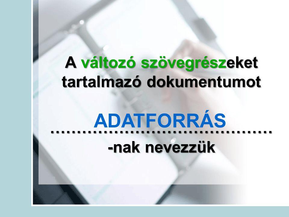 A változó szövegrészeket tartalmazó dokumentumot …………………………………… -nak nevezzük ADATFORRÁS