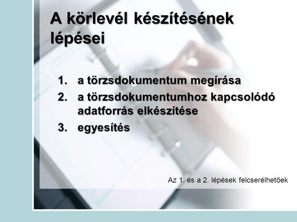 A körlevél készítésének lépései 1.a törzsdokumentum megírása 2.a törzsdokumentumhoz kapcsolódó adatforrás elkészítése 3.egyesítés Az 1. és a 2. lépése