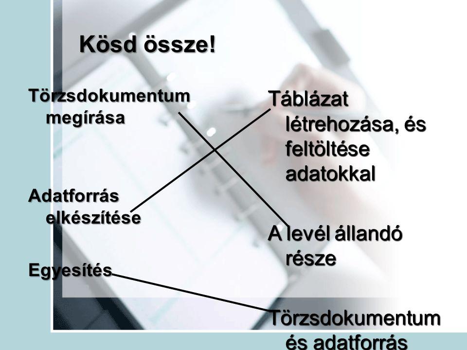 Kösd össze! Törzsdokumentum megírása Adatforrás elkészítése Egyesítés Táblázat létrehozása, és feltöltése adatokkal A levél állandó része Törzsdokumen
