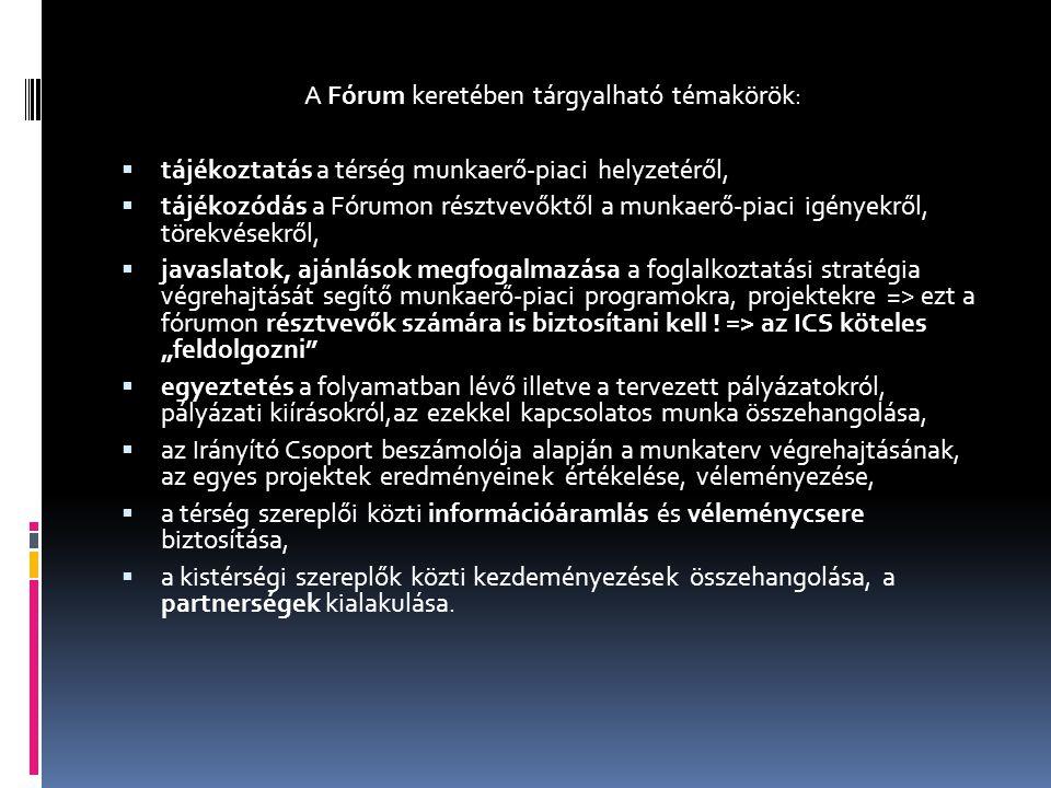 A Fórum keretében tárgyalható témakörök:  tájékoztatás a térség munkaerő-piaci helyzetéről,  tájékozódás a Fórumon résztvevőktől a munkaerő-piaci ig