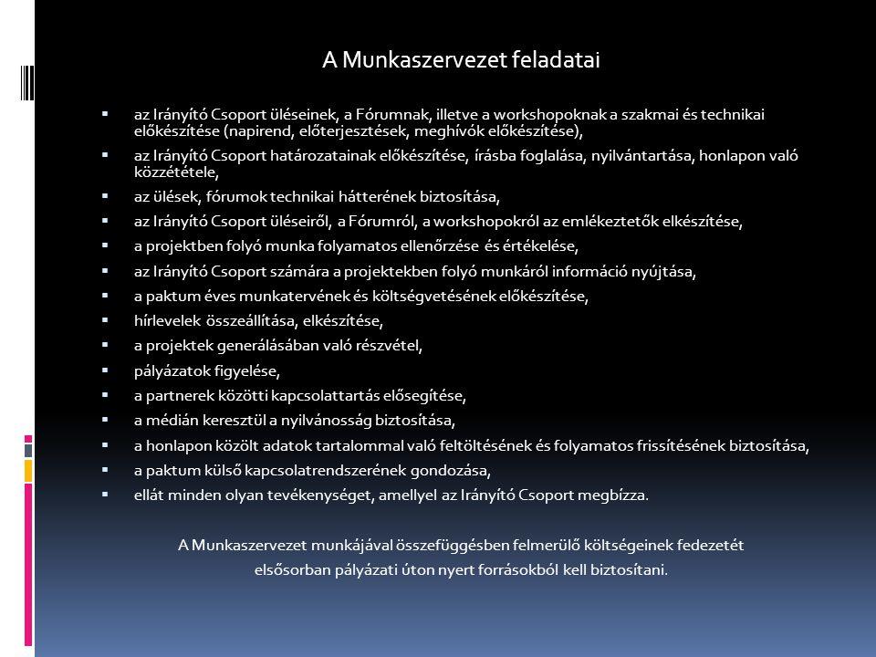 A Munkaszervezet feladatai  az Irányító Csoport üléseinek, a Fórumnak, illetve a workshopoknak a szakmai és technikai előkészítése (napirend, előterj