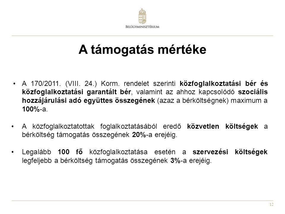 12 A támogatás mértéke •A 170/2011.(VIII. 24.) Korm.