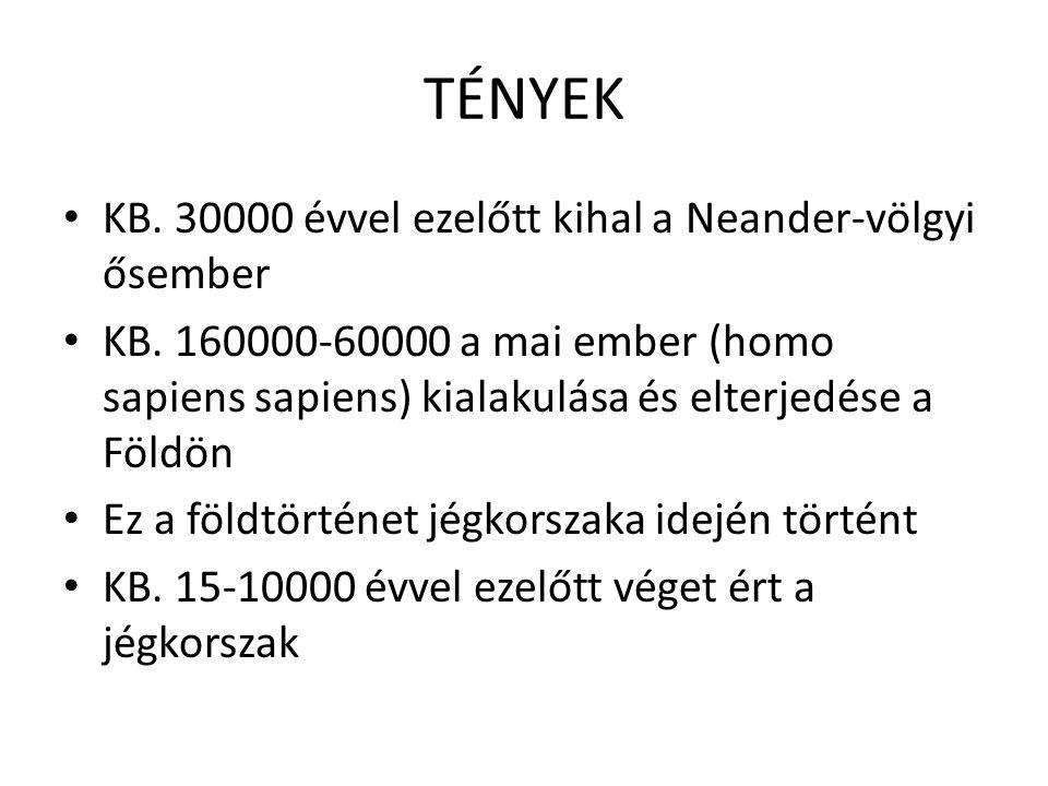 TÉNYEK • KB. 30000 évvel ezelőtt kihal a Neander-völgyi ősember • KB. 160000-60000 a mai ember (homo sapiens sapiens) kialakulása és elterjedése a Föl