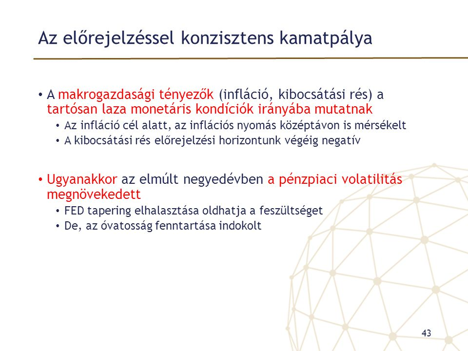 Az előrejelzéssel konzisztens kamatpálya • A makrogazdasági tényezők (infláció, kibocsátási rés) a tartósan laza monetáris kondíciók irányába mutatnak
