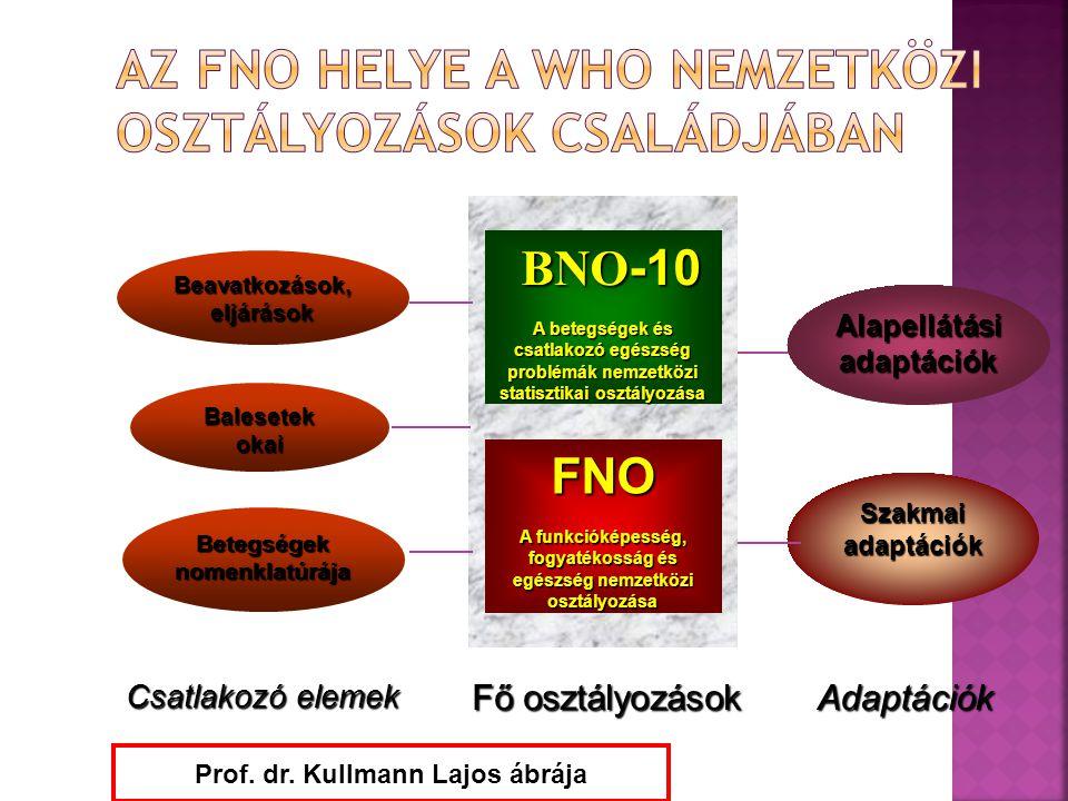 Beavatkozások, eljárások Balesetek okai BNO -10 BNO -10 A betegségek és csatlakozó egészség problémák nemzetközi statisztikai osztályozása FNO A funkc