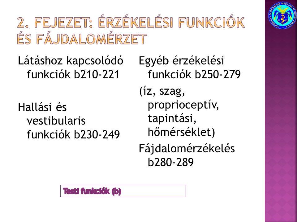 Látáshoz kapcsolódó funkciók b210-221 Hallási és vestibularis funkciók b230-249 Egyéb érzékelési funkciók b250-279 (íz, szag, proprioceptív, tapintási